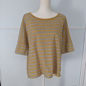 Anthropologie mustard gray striped oversized top L